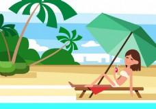 美女沙滩度假矢量素材