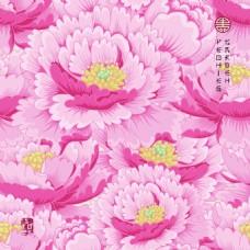 粉红色中国风牡丹花图形花纹VI设计矢量