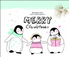 卡通动物线稿圣诞节创意卡片矢量