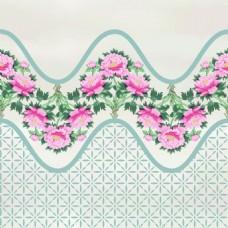 波浪中国风牡丹花图形花纹VI设计矢量