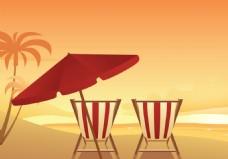 黄昏沙滩椅矢量素材