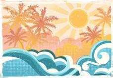 太阳椰子树矢量素材