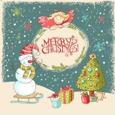 卡通雪人圣诞节夜晚矢量背景元素