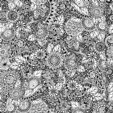 黑白花纹涂鸦背景