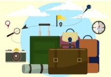 世界旅游行李箱矢量素材
