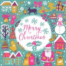 卡通圣诞节海报包装纸装饰元素