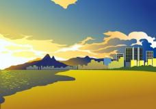 夏天黄昏城市风景