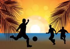 沙滩足球矢量素材