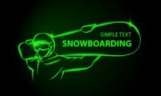 绿色线条滑板选手矢量背景素材