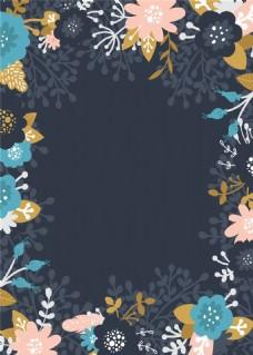 夏日波西米亚水彩花朵邀请卡背景
