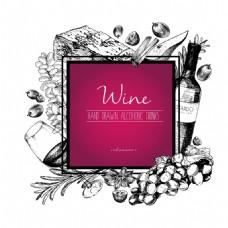 酒红色背景红酒手绘线稿红酒广告矢量背景