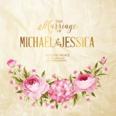 复古手绘花朵纸张背景婚礼请柬矢量素材