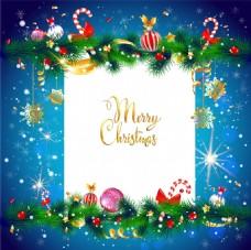 蓝色星光圣诞海报矢量设计素