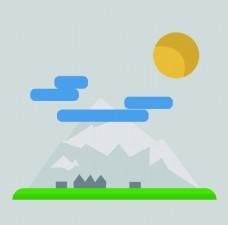 卡通扁平山背景