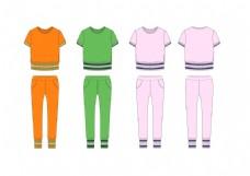 夏装女装时尚运动休闲套装服装设计款式图