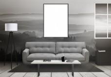 山水水墨简约客厅效果图图片素材