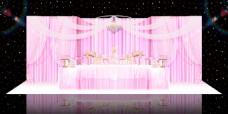 粉色布幔浪漫婚礼效果图甜品区