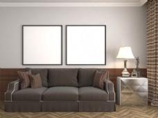 沙发装饰画创意客厅效果图