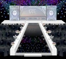 灰银简约婚礼舞台效果图