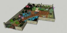 景观私家别墅后花园效果图