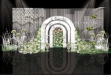 小清新白绿色大理石婚礼迎宾区效果图