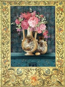 油画花瓶玫瑰复古风花卉装饰画