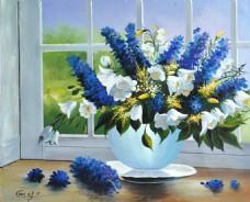 手绘蓝色白色花朵静物装饰画