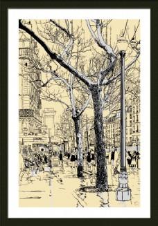 手绘城市建筑装饰画