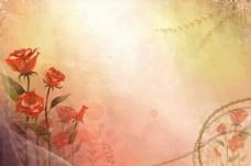 手绘玫瑰背景墙