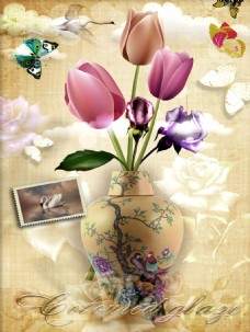 郁金香花瓶油画玄关装饰画