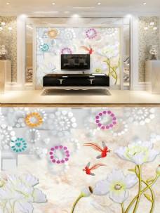 立体水仙花背景墙