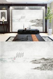 中国风水墨山水画电视背景墙