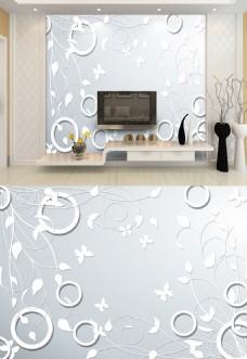 3d浮雕简约白色蝴蝶圆圈典雅背景墙