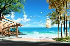海边沙滩风景背景墙装饰画