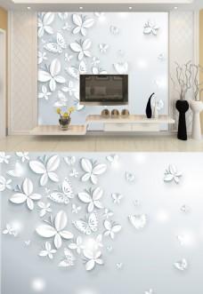 3d浮雕简约白色蝴蝶典雅背景墙