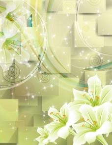 绿色百合立体背景墙玄关画