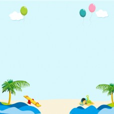 夏季海岸海滩椰树气球主图海报背景psd
