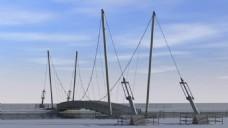 河流渔船视频素材
