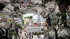 城市人物抽象玻璃建筑视频