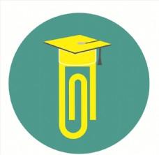 博士帽回形针创意logo设计