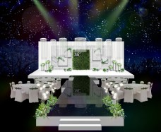 白绿色系婚礼舞台