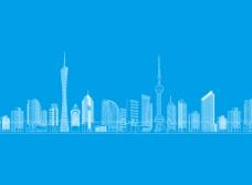 广州城市建筑矢量线稿图