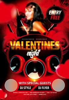红色高档玫瑰酒吧派对活动海报