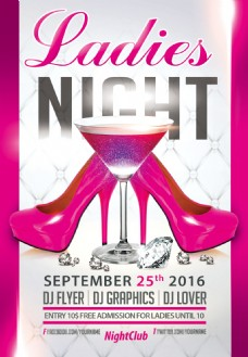 粉色欧美高档酒吧夜店女士之夜派对活动海报