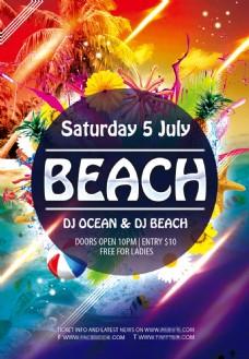夏季沙滩聚会派对活动海报