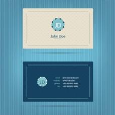 现代蓝色名片模板