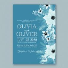 蓝色花朵婚礼请柬邀请函