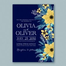 黄色花朵请柬婚礼邀请函矢量