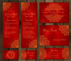 红色中式婚礼贺卡矢量设计素材