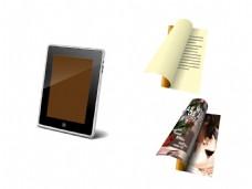 平板电脑翻开的杂志笔记本矢量素材
